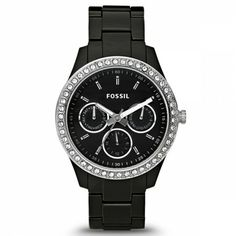 FOSSIL® Watch Collections Stella Watches:Women Stella Resin Watch - Black with Stones Jewelry Accessories, Fashion Accessories, Fashion Jewelry, Black Fossil Watch, Boyfriend Watch, Boyfriend Style, Fossil Watches, Fashion Watches, Jewelry Watches