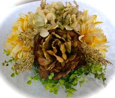Brown Peony, Tan Hydrangea, Yellow Dahlia, Golden Filler, on a Bed of Greens  www.ChicagoSilkFlorist.com Beautiful Affordable Flowers