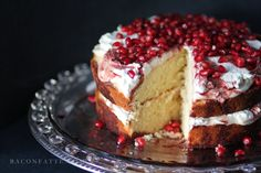 This beautiful and delicious Amaretto Butter Cake with Pomegranate and Cream has a chunky crumb and slightly rustic texture - perfect for every occasion!