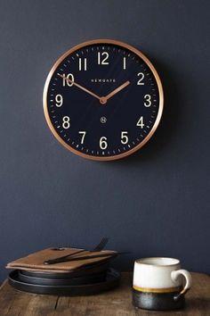 Newgate Mid-Century Style Petrol Blue & Copper Wall Clock from Rockett St George Mantel Clocks, Wood Clocks, Wall Clock Design, Clock Wall, Office Wall Clock, Big Wall Clocks, Wall Art, Kitchen Wall Clocks, Copper Wall