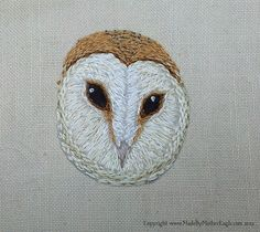 Miniature Barn Owl embroidery by MotherEagle, via Flickr  Love the texture of the stitches - feather like.