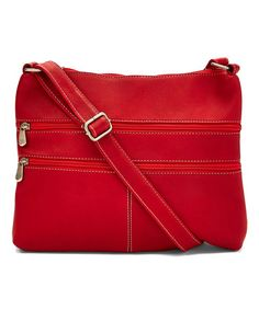 Love this Red Layered Zip Leather Crossbody Bag on #zulily! #zulilyfinds