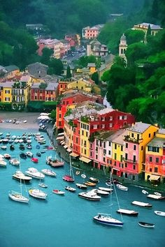 Portofino Located on the Italian Riviera, Portofino can take your breath away the moment you see it: colorful buildings by the shore, yachts next to the port, and an amazing turquoise sea.