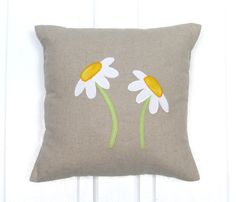Daisy Cushion Home Decor Cushion Handmade Free by AnnettesAllsorts, £15.00