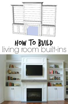 "Room Built-Ins ""Tutorial"" + Cost How to Build Living Room Built-ins – You won't believe the price!How to Build Living Room Built-ins – You won't believe the price! Living Room Built Ins, Home Living Room, Kitchen Living, Fireplace Built Ins, Fireplace Bookshelves, Fireplace Wall, Build In Bookshelves, Shelves Around Fireplace, Diy Built In Shelves"