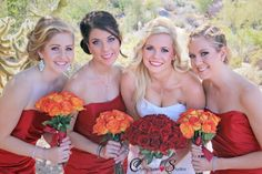 Red and Orange Wedding Colors, Red Bridesmaids Dress, Scottsdale Wedding Photography, Troon North Wedding. www.carmichaelstudios.com