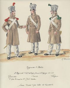 Line Infantry, Campaign Uniform L to R Grenadier, Fusilier & Voltigeur. Kingdom Of Naples, Kingdom Of Italy, Military Art, Military History, Army Uniform, Military Uniforms, Italian Army, National History, Napoleonic Wars