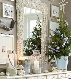 Coastal Christmas Mantel Ideas. Featured on Completely Coastal: http://www.completely-coastal.com/2014/12/simple-coastal-christmas-decor-ideas.html