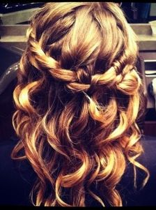 After curling hair, braid a crown around the sides of your head and pin with bobby pins that match your hair color.