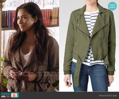 Emily's green cotton moto jacket on Pretty Little Liars.  Outfit Details…