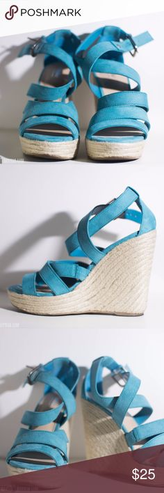 Teal Wedge Heels Teal wedge heels worn once. Good condition. Mossimo Supply Co. Shoes Wedges