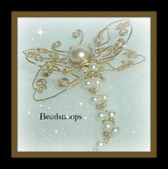 Dragonfly brooch by beadsnoops on Etsy, $20.00