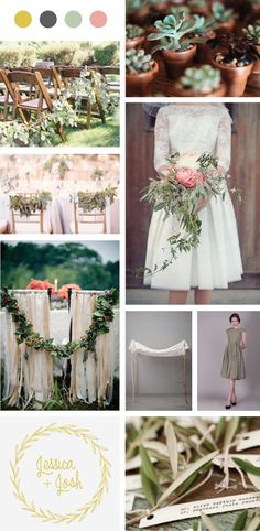 My wedding decor inspiration board! Eucalyptus, gold, sage & moss green, succulents, vintage details, laurel wreaths, pale rose.
