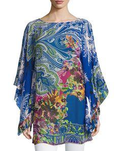 ETRO RUFFLED PAISLEY-PRINT CAFTAN TOP, MULTI. #etro #cloth #