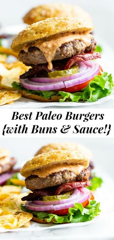 These classic paleo burgers taste just like the real deal but are made with better-for-you ingredients! Juicy grass-fed beef patties, grain free buns, a dairy-free, refined sugar free and soy free burger sauce and thick cut bacon make these the best loaded paleo burgers you'll try. #paleo #cleaneating #hamburgers #burgers #grainfree Clean Eating Dinner, Clean Eating Recipes, Lettuce Wrapped Burger, Sauces, Paleo Ketchup, Paleo Burger, Paleo Running Momma, Burger Toppings, Primal Kitchen