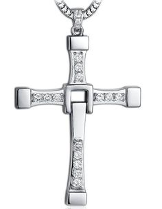 Fast & Furious Dominic Toretto's Cross Necklace,Titanium Steel Cross Necklace for Men