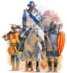 The last Albigensian rising, mid-13th century: • Southern Frech crossbowman from Bigone  • French royal knight  • Southern Frech sergeant from Country of Foix