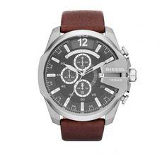 Diesel Men's Chronograph Mega Chief Brown Leather Strap Watch In Brown/ Silver Diesel Watches For Men, Army Watches, Best Watches For Men, Sport Watches, Cool Watches, Latest Watches, Cheap Watches, Festina, Mens Designer Watches