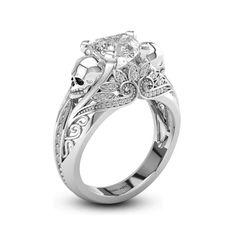 Vintage Inspired Skull Wedding Ring #skull #wedding #ring