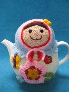 Crochet Pattern Teacosy Matryoshka Tea Cosy Cozy by Millionbells, $5.99