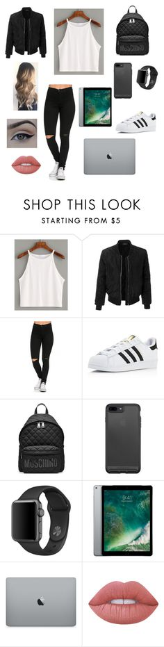 """""""Untitled #48"""" by kylie2116 ❤ liked on Polyvore featuring LE3NO, adidas, Moschino and Lime Crime"""