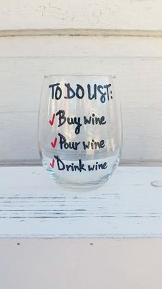 Handpainted stemless wine glass tumbler To Do List/funny wine glass/adult humor wine glass/gifts und Hand Painted Wine Glasses, Wine Case, Wine Glass Set, Wine Bottle Crafts, Funny Wine, Adult Humor, Tumblers, Cups, Budget