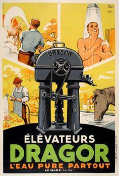 1935 Dragor Water pumps vintage advert poster