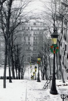 Christmas in Paris- mylusciouslife.com - Montmartre-Steps-in-Snow.gif