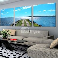 New Arrival Beautiful Blue Sea and Beach Road Print 3-piece Cross Film Wall Art Prints on sale, Buy Retail Price Prints at Beddinginn.com