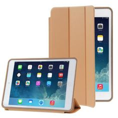 For+iPad+Air+Brown+3-folding+Naturally+Treated+Leather+Smart+Cover+Case+with+Holder