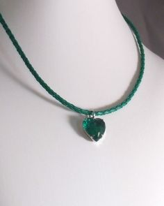 Rock Candy Emerald Green Crystal Heart of Glass by MatriarchbyFP