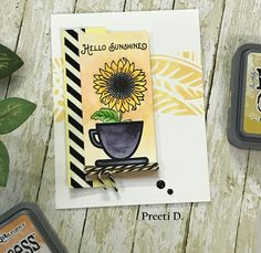 #sunflower #greetingcard #cardmakers #stamping #flowers #watercolors #painting #sunshine #summer2017clh #art #craft