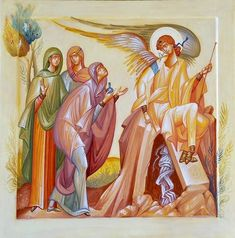 The Holy Myrrhbearers at the Empty Tomb by George Kordis Byzantine Icons, Byzantine Art, Religious Icons, Religious Art, Church Icon, Life Of Christ, Jesus Christ, Pictures Of Christ, Holy Week