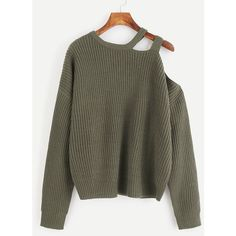 SheIn(sheinside) Laddering One Shoulder Jumper ($22) ❤ liked on Polyvore featuring tops, sweaters, green, green pullover sweater, long sleeve jumper, long sleeve pullover, long sleeve pullover sweater and cut-out shoulder sweaters