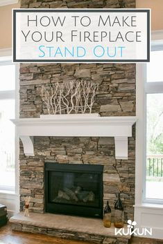 Ledge stone is an amazing fireplace renovation material, especially if you want to achieve a rustic look. It looks very attractive around traditional wood-burning fireplaces with an open hearth. [Stone Fireplace Ideas, Fireplace Decor, Fireplace Design Ideas, Rustic Living Room Ideas, Shelf Molding, Hardwood Floors, Wall Stone Interior, Fireplace Gate]