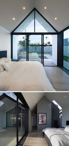 In this master bedroom, windows follow the line of the roof and provide a view of the backyard.