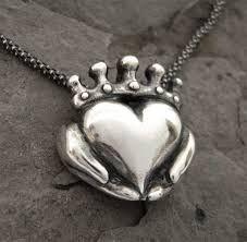 Claddagh Necklace - Modern Celtic Silver Jewellery Irish Promise Pendant