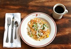 """The visually repellent but ultimately winning """"breakfast spaghetti and clams."""""""