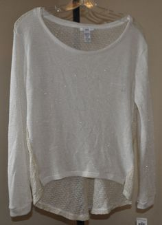NWT BAR III Open-Knit Boatneck Hi-Lo Semi Sheer Sweater Top Women's XS #BarIII #KnitTop