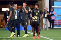 Paulinho, Thiago Silva, Neymar and Willian train in Sao Paulo on Wednesday