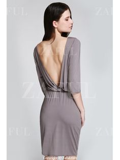 Open Back 3/4 Sleeve Bodycon Dress GRAY: Bodycon Dresses | ZAFUL