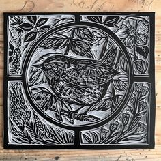 This ones ready for a print test when I've finished packing up my orders. #printproof #linocut #wren #fleabane #toadflax #wildrose #rose #printprocess #stainedglasswindowdesign