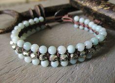 Sky Blue leather bracelet  sK Revivals Collection  by slashKnots, $72.00