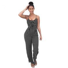 5cf5f0b5b0e Sunyastor Women s Stripe Print Striped Playsuit Bandage Bodysuit Party Jumpsuit  Casual Style Vertical Striped Jumpsuit Romper (Navy