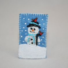 Snowman Brooch  Hand Embroidered on Felt by by Lynwoodcrafts