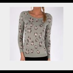 Willow & Clay Animal Print Sweater Stormy blue green sweater with gray and soft pink animal prints. Barely worn, in good condition. Willow & Clay Sweaters