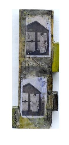 Encaustic, image transfer on wood block