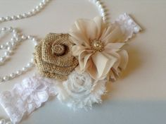 Flower girl headband flower girl burlap by BlessedwithAccents, $14.00