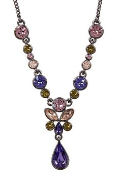 Multi Color Floral Crystal Y-Necklace