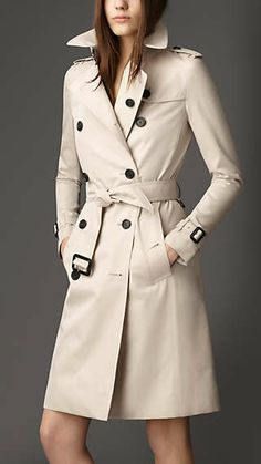 Long Cotton Gabardine Trench Coat.  Because every girl needs a trench coat! #classy #perfect #surprise